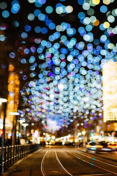 Urban city lights bokeh by peterwey | Stocksy United