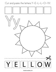 Cut and paste the letters Y-E-L-L-O-W Coloring Page - Twisty Noodle Body Preschool, Preschool Colors, Preschool Letters, Letter Activities, Learning Letters, Preschool Lessons, Color Activities, Alphabet Letters, Letter Y Worksheets