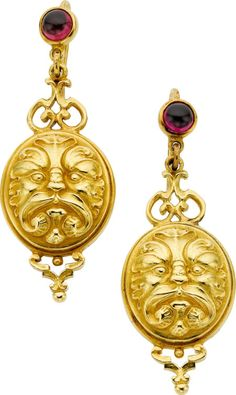 Garnet, Gold Earrings, Paul Lantuch  The earrings feature cabochon rhodolite garnet weighing a total of approximately 1.50 carats, set in 18k gold, marked Paul Lantuch