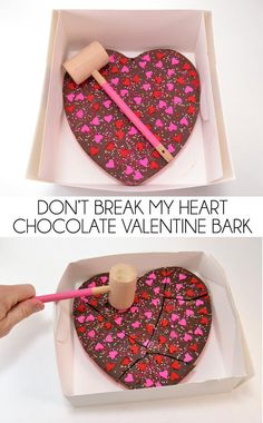 How cute is this chocolate bark in a Valetine's Day heart shape with a little mallet to break it. Don't break my heart! day food Don't Break my Heart Chocolate Valentine Bark Valentine Desserts, Valentines Day Chocolates, Valentine Chocolate, Chocolate Hearts, Chocolate Bark, Valentine Cookies, Valentines Day Treats, Homemade Chocolate, Holiday Treats
