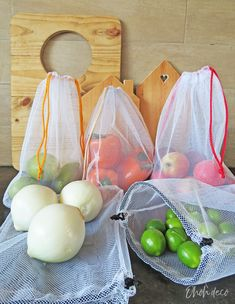 How to sew reusable fabric bags for fruits and vegetables - sewing projects - # sewn sew einfach clothes crafts for beginners ideas projects room Sewing Hacks, Sewing Tutorials, Sewing Crafts, Sewing Tips, Sewing Ideas, Sewing Patterns Free, Free Sewing, Produce Bags, Leftover Fabric