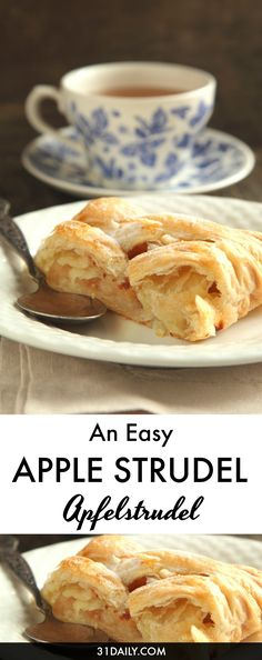 Easy Apple Strudel, or Apfelstrudel, is a centuries-old classic made easy with store-bought pastry. Perfect for entertaining, bake sales, church socials, or simply inviting the neighbors over for coffee, cider… and strudel. Easy Apple Strudel to Share This Season | 31Daily.com Apple Recipes, Apple Desserts, Just Desserts, Delicious Desserts, German Desserts, German Recipes, Fall Recipes, Yummy Recipes, Pastry Recipes