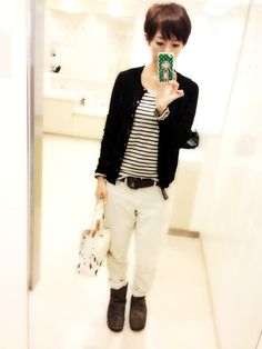 Great outfit, love the layers, striped tee, menswear pants, color scheme.