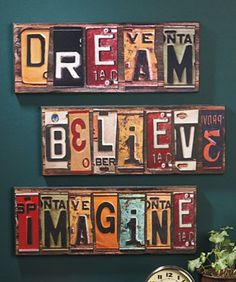Wall hanging - License plates   ***don't click on the link, it's a used car website.
