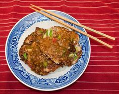 Egg Fu Yung-I will sub out the sugar and cornstarch for healthier alternatives.  Could also skip the ham for a Friday Lenten meal.