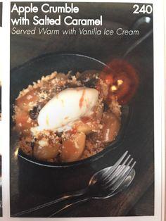 Apple crumble with vanilla ice cream.