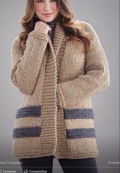 Ladies Cardigan Knitting Patterns, Knit Cardigan Pattern, Knitted Baby Cardigan, Chunky Knitting Patterns, Gilet Crochet, Crochet Shirt, Knit Crochet, Knit Fashion, Vogue Knitting