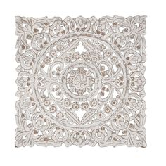 Rustic Wood Whitewashed Floral Medallion Wall Panel | Overstock.com Shopping - The Best Deals on Wall Sculptures