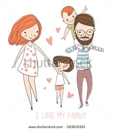 I love my family. Cute vector illustration with mother, father, son, daughter. Happy parents and children