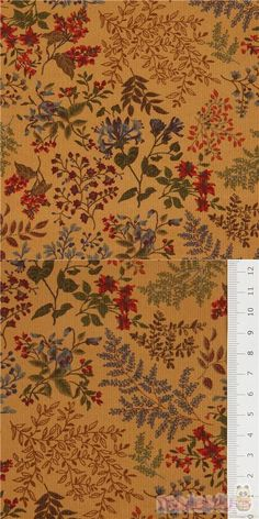 "light brown corduroy cotton fabric with small flowers, berries, leaves, Material: 100% cotton, Fabric Type: ribbed corduroy cotton fabric, Pattern Repeat: ca. 15cm (5.9"") #Corduroy #Flower #Leaf #Plants #JapaneseFabrics"
