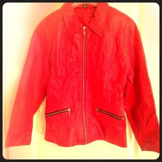 New Year Sale✨ Ladies red leather jacket Super soft lipstick red leather jacket. Worn once, in perfect condition! I'm 6' tall if that helps with proportions. Jacqueline Ferrar Jackets & Coats
