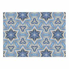 24 by 36-Inch Kess InHouse Angelo Cerantola Astral Beige Blue Memory Foam Bath Mat 24 X 36