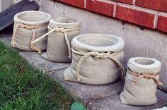 concrete planters look like burlap pouches