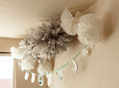 Google Image Result for http://www.babylifestyles.com/images/parties/vintage-pink-grey-white-baby-shower/shabby-chic-baby-shower-with-grey-and-white-tissue-poms-and-DIY-baby-clothes-banner.jpg