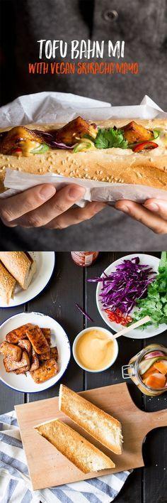 Tofu bánh mì with vegan Sriracha mayo