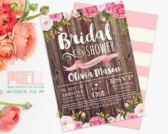 Rustic Floral Bridal Shower Invitation, Country Bridal Shower, Autumn, Fall, Wedding Shower, Vintage Barn Siding and Pink Flowers by shopPIXELSTIX on Etsy