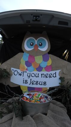 Exterior Trunk Or Treat Decorating Ideas For Church And Owl You Need Is Jesus St . Exterior Trunk Or Treat Decorating Ideas For Church And Owl You Need Is Jesus Steps For Hallowen Costume, Halloween Kostüm, Halloween Treats, Halloween Decorations, Halloween Jewelry, Fall Festival Decorations, Halloween Carnival, Trunk Or Treat, Christian Halloween