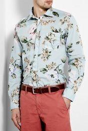 Sky Blue Hibiscus Print Shirt