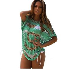 Sexy Crochet Beach Cover Up Womens Bathing Suit Bikini Swimwear Cover ups Only one size Moda Praia Beach Wear