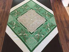 Vintage Green & Gold Metallic Tablecloth Hollywood Regency