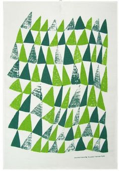 Kauniste works with young Scandinavian designers to create beautiful longlasting textiles. This towel by Hannele Äijälä is called 'Kuusikko' which means 'spruce forest'. Silkscreen printed in Helsinki. Textiles, Textile Patterns, Print Patterns, Textile Prints, Surface Pattern, Pattern Art, Pattern Design, Print Design, Triangles