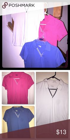 Bundle of 3 - Polo/Golf Shirts Bundle of 3 Women's polo shirts, great for golfing. All are in great condition & short sleeves. White, Pink & Blue. Tops Tees - Short Sleeve
