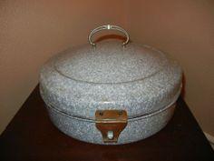Vintage Round Bread Box, Graniteware, Enamelware, Grey and White