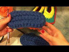Мастер-класс по вязанию тапочек с закрытой пяткой из трикотажной пряжи - YouTube