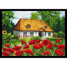 Loom Patterns, Cross Stitch Patterns, Cross Stitch House, Cross Stitch Landscape, Cross Stitching, Quilling, Needlepoint, Castle, Cottage