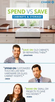 Spend vs Save cabinets/storage tips. Save by refinishing cabinets, spend on hardware and inserts, small DIY saves money. Stock Cabinets, Old Cabinets, Bathroom Cabinets, Kitchen Cabinets, Basement Makeover, Basement Renovations, Talking T, Painting Oak Cabinets, Google Custom