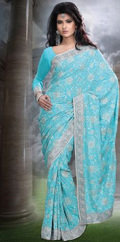 Aqua Blue Color Faux Georgette Saree.  Saree is crafted with Bead,Bugle Beads/ Cutdana,Embroidery With Stones/Crystals,Lace,Resham And Sequins.  Fabric - Faux Georgette.  Color - Aqua Blue.  Length of sarees with attached blouse pc. is 6.25 mtrs.  Costume/Outfit - Saree with Blouse piece.      #indian_sarees #designer_sarees #sarees_online