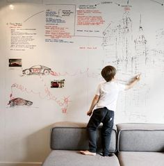 Articles about tiny warsaw studio instantly changes office playroom. Modern home offices are varied. Some of us use our kitchen tables, dedicated home offices, or even our beds to be our offices. Magnetic Paint, Magnetic White Board, Office Playroom, Office Walls, Wipe Board, Erase Board, Dry Erase Wall, Wall Writing, Inspiration Wall