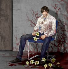 """Henry Townshend (w/ the 'Butter & Sugar' Siberian irises he normally gives Eileen Galvin in a bouquet, in the """"Escape"""" and """"Mother"""" endings) — Silent Hill The Room Silent Hill Series, Silent Hill Art, Im Alone, The Evil Within, Best Series, Resident Evil, Scary, Horror, Fan Art"""