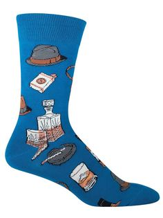 The bowler hat (not the cowboy hat) was the most popular hat in the American wild west - a time of lawlessness and adventure. Capture that free-living attitude in these vintage fellow socks.  These crew length socks with vintage fellow accouterments (bowler hat, whiskey, cigarettes) fit a men's shoe size 8-12.5 and are available in grey or ocean blue.