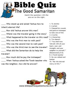 Printable bible quiz - The Good Samaritan The Good Samaritan Lesson, Good Samaritan Parable, Good Samaritan Craft, Sunday School Kids, Sunday School Lessons, Sunday School Activities, Bible Lessons For Kids, Bible For Kids, Kids Bible Stories