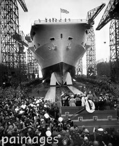 Queen Elizabeth launching the HMS 'Ark Royal', Britain's most powerful aircraft carrier, from the Birkenhead yards of Cammell Laird. 3rd May 1950