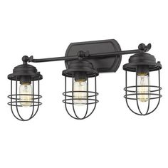Add nautical charm to your space with the Golden Lighting Seaport 3 Light Bathroom Vanity Light . This industrial-style bathroom vanity light features.