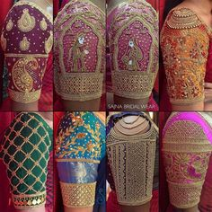 Stunning bridal designer blouse sleeve collection from Sajna bridal wear. To get your outfit customized visit at Chennai Vadapalani or call/msg at 919094871467 for appointments online order and further details 24 September 2019 Cutwork Blouse Designs, Wedding Saree Blouse Designs, Fancy Blouse Designs, Kurti Designs Party Wear, Blouse Neck Designs, Neckline Designs, Hand Work Blouse Design, Stylish Blouse Design, Designer Blouse Patterns