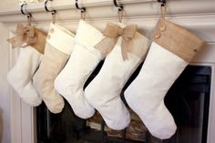 So adorable Christmas stockings in pale palette!