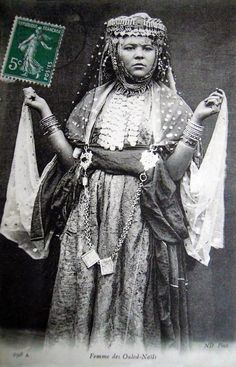 """Femme de Ouled Nails"". Post stamped 1905."