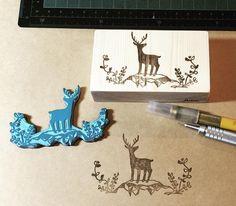 #handmade #stamp #rubber #carving #original #illustration #deer #cute #lovely #instapic #instagood #nature #garden #green