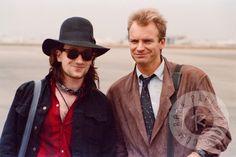 Sting & Bono by Daniel Gluskoter U2 Zooropa, Bono U2, Much Music, Music Love, The Police Band, Paul Hewson, Larry Mullen Jr, Miss Match, Rockn Roll