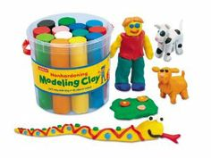 Nonhardening Modeling Clay Bucket - Each by Lakeshore Learning Materials. $8.99. Long-lasting, nonhardening clay comes in 13 vibrant colors. For ages 3-11 years. Children develop eye/hand coordination while boosting their creativity. Soft, reusable clay lets kids sculpt, roll and explore. Our vibrant modeling clay will never dry out-even if kids leave the lid off! The soft clay is easy to work with, yet firm enough to hold its shape for detailed creations. Plus, it won't harden, ...