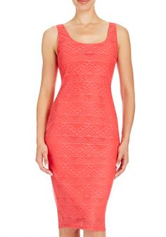 Curves on display. Our Lace Bandage Dress features a scooped neckline. Style with our sexiest stilettos.