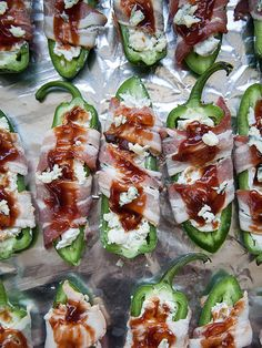 Stuffed Jalapenos with Gorgonzola, Bacon and Barbeque Sauce is everyone's favorite #Superbowl appetizer #recipe