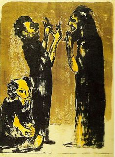 """Emile Nolde, """"Diskussion"""" (Discussion), This painting was banned by the Nazi regime and exhibited at the Degenerate art exhibition in Munich in Emil Nolde, Franz Marc, Edvard Munch, Kandinsky, Ludwig Meidner, Karl Schmidt Rottluff, George Grosz, Monument Men, Degenerate Art"""