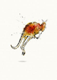 Red Kangaroo  Archival Print by NonnaAndNonno on Etsy
