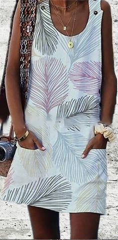 New Fashion Sleeveless U Neck Vintage Leaf Printed Dress – Lyliya Boho Summer Dresses, Summer Dresses For Women, Daily Dress, Maxi Dress With Sleeves, Types Of Sleeves, New Fashion, Fashion Trends, Dresses Online, Printed
