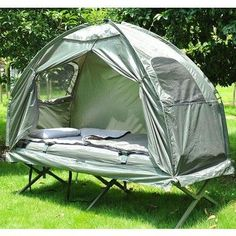 Image for Multi-functional 4-in-1 Compact Single Dome Camping Tent with Camping Cot and Sleeping Bag Combo from SHOP.CA