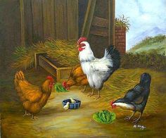 Rooster, hen, and chick - stable, hen, rooster, farm, art, animal ...